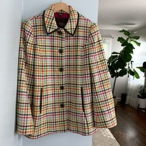 Coach Multicolored Tattersall Houndstooth Coat